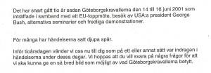 Brev från Göteborgsposten ang Göteborgskravallerna
